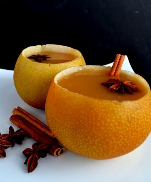 Warm Pear Cider in Pear Cups